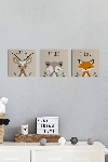 Kit 3 Quadros Placas 17cm x 17cm Woodland